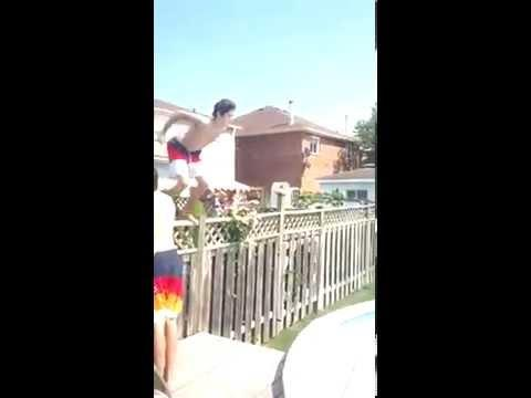 Jumping Into The Pool From The Fence Fail