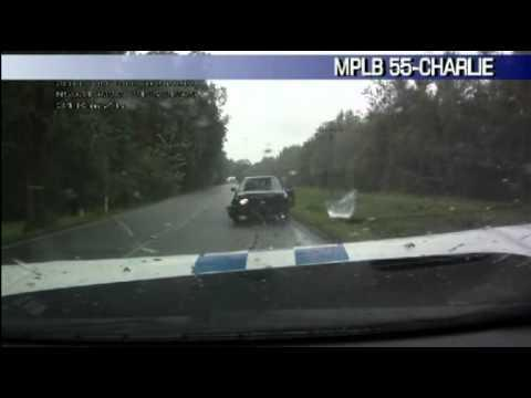 FAIL - Dumb Driver Crashes Head On With Police Cruiser