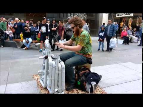 Pipe Guy Plays The PVC Pipe Instrument In Australia