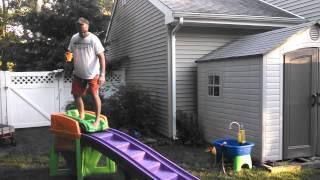 Drunk Guy Riding Kid's Roller Coaster Ride FAIL
