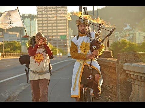 Unicyclist Performs Monty Python And The Holy Grail