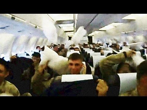 Jokes - Pillow Fight Between Plane Full Of Soldiers