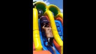 Woman Trying To Get On The Slip And Slide FAIL