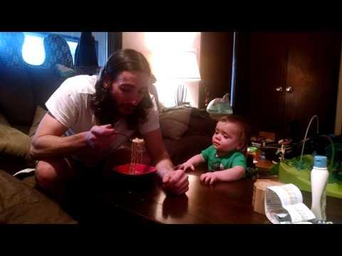 Baby Finds Daddy Eating Ramen Noodles Funny