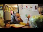 Little Girl Eats Butter