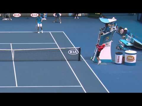 Ball Kid Takes One For The Team At 2014 Australian Open
