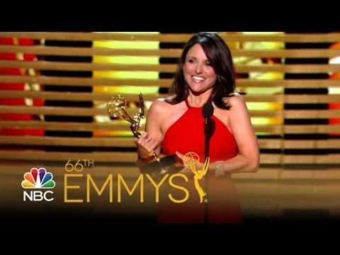 Julia Louis-Dreyfus Kisses Bryan Cranston At The 2014 Emmys
