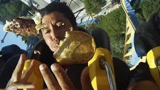 Funny Guy Eats His Lunch On The Roller Coaster