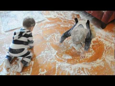 Cute - Toddlers Cover House With Flour