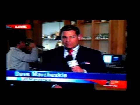Guy Behind The Reporter Drinks From Plant Vase At The Bar - Fail