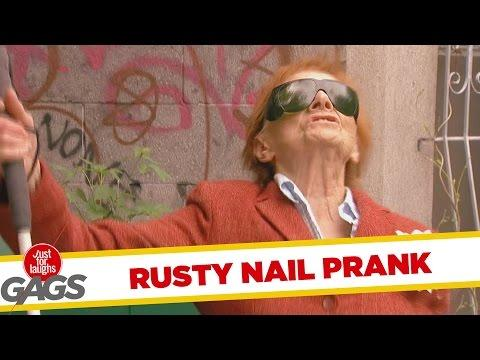 Helpless Woman Sits On Rusty Nail Prank