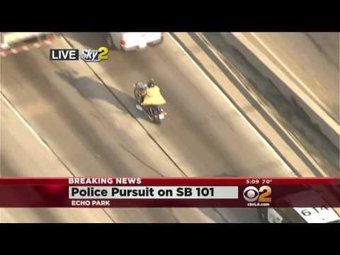 Guy On Motorcycle Almost Gets Away From The Police In Los Angeles California