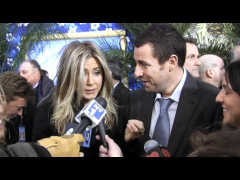 Jennifer Aniston And Adam Sandler Get Scared Of Tall Reporter