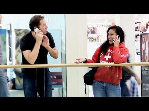 Crashing People's Phone Conversation At The Mall Prank