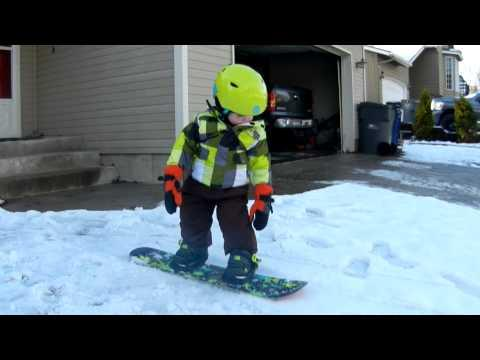 Cute - 18 Months Old Snowboarder