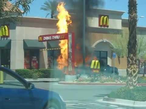 Crazy - Truck Burns & Explodes At McDonald's