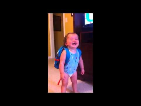 Cute - Baby Girl Laughs When Mommy Says Backpack