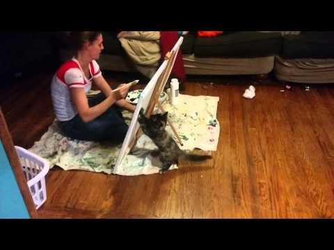 Funny Kitten Vs The Girl Trying To Paint