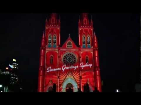Amazing - Christmas Light Show On St Mary's Cathedral In Sydney Australia