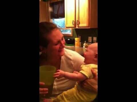 Cute - Big Cup Makes Baby Laugh