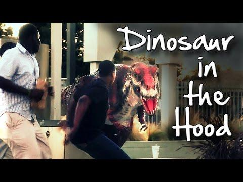 Dinosaur Scare Prank In The Hood