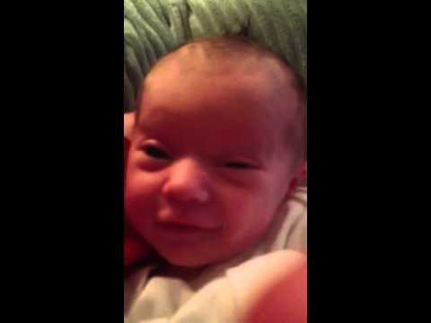 Cute - Newborn Baby Smiles At Daddy