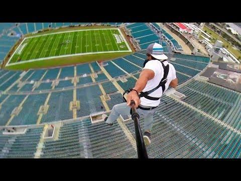 Epic Rope Swing At The NFL Stadium