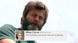 Nick Offerman Reads Tweets From Young Celebs