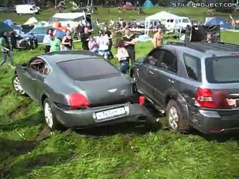 FAIL - Dumb Driver Crashes His Bentley