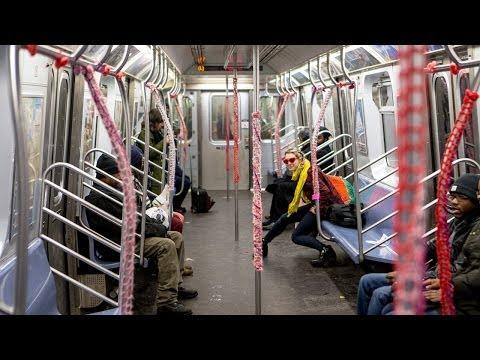 Making People Smile On Valentine's Day With Yarn Bombing In New York Subway