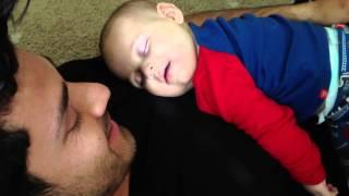 Cute Sleeping Baby Laughs At Dad's Cough