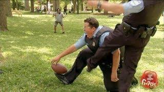 Cop Kicks Partner In The Groin Prank
